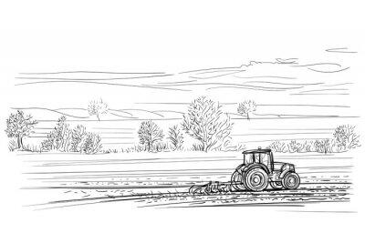 Traktor arbeitet im Feld Illustration. Vektor.