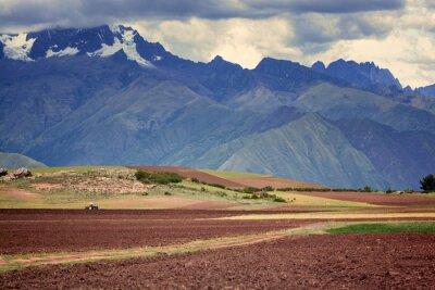 Sticker Traktor auf dem Feld, Cuzco, Peru