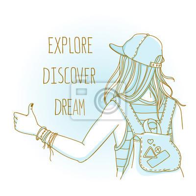 """Tramper-Mädchen mit Rucksack versucht, einen Lift mit Daumen nach oben zu heben. Rückansicht mit Worten """"Entdecken Sie. Traum"""""""