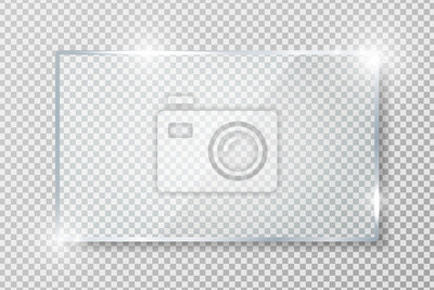 Sticker Transparent glass banner with reflection isolated on transparent background. Blank gloss glass plate. Realistic rectangle glass frame. Square 3d shiny display mockup. Window design. Vector