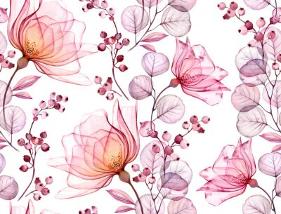 Sticker Transparent rose watercolor seamless pattern. Hand drawn floral illustration with pink berries for wedding design, surface, textile, wallpaper