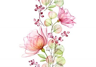 Sticker Transparent watercolor rose. Seamless vertical border. Isolated hand drawn arrangement with big flowers, eucalyptus and berries for wedding design, stationery card print