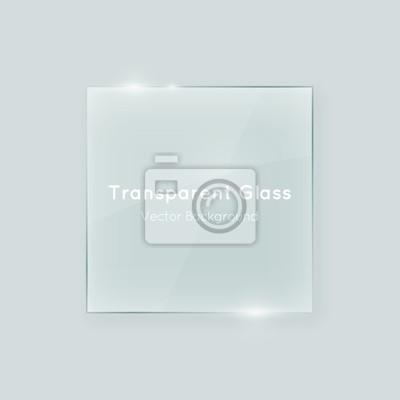 Sticker Transparente Vektor-Glas quadratische Form. Geometrisches kristallklares Glas abstraktes Design-Element mit Transparenz.