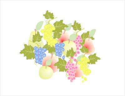 Sticker Trauben Birne Apfel - Obst Herbst,