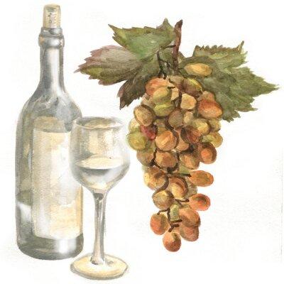 Sticker Trauben, Weinflasche, Weißwein in einem Glas Wein Glas. Aquarellmalerei