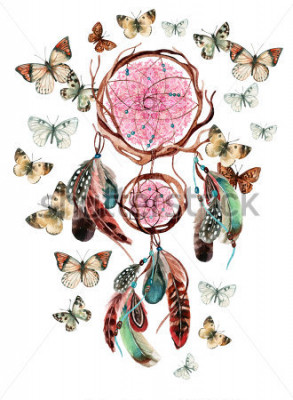 Sticker Traumfänger mit Federn und Mandala. Ethnischer Dreamcatcher und Schmetterling des Aquarells lokalisiert auf weißem Hintergrund. Handgemalte Abbildung für Ihre Auslegung