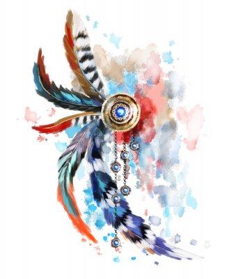 Traumfänger mit roter und blauer Feder. Gold jewerly mit Edelsteinen und Federn auf Aquarell Hintergrund. Spritzlackierung. Ethnische Illustration, Stammes-