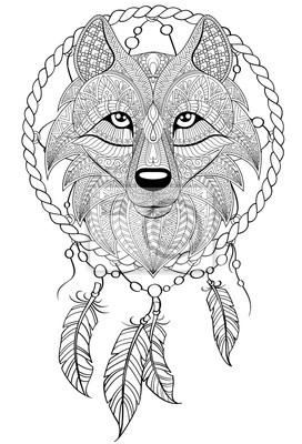 Sticker Traumfänger Mit Wolf Tattoo Oder Erwachsene Antistress Malvorlage
