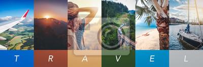 Sticker Travel concept background. Summer concept.  Header format with copyspace, vertical stories
