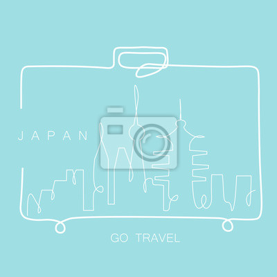 Travel concept Japan skyline cityscape from travel bag one line drawing, vector illustration.