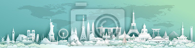 Sticker Travel landmarks world with world map background.