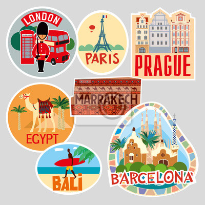 Travel stickers. Character set of cities of different countries. Vector illustration