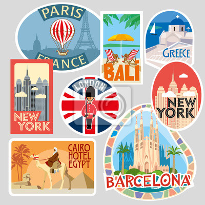 Travel stickers. Various world cities and resorts. Vector illustration