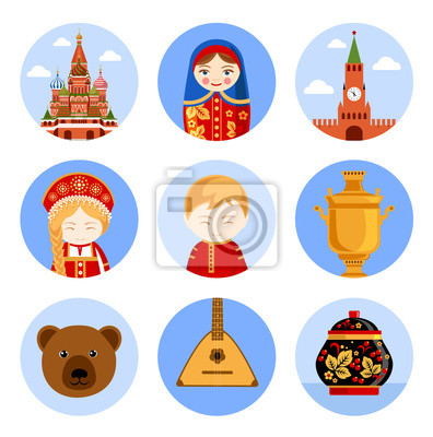 Travel to Russia. Set of vector illustrations for guidebook. Russian architecture, food, national costumes, traditional symbols, people, culture. Collection of flat round icons.