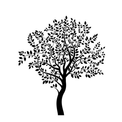Sticker Tree black silhouette isolated on white