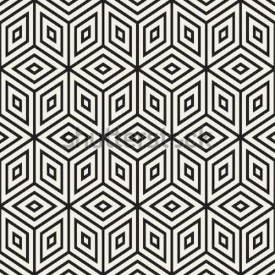 Sticker Trendy monochrome Liniengitter. Abstrakte geometrische Hintergrundauslegung. Vektornahtloses Schwarzweiss-Muster.