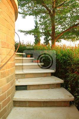 Treppe mit Blumen und Baum im Garten