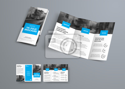 Sticker Tri-fold vector brochure template with blue rectangular elements for headers.