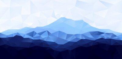 Sticker Triangle niedrigen Poly Polygon geometrischen Hintergrund mit blauem Berg