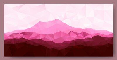 Sticker Triangle niedrigen Poly Polygon geometrischen Hintergrund mit rosa Berg