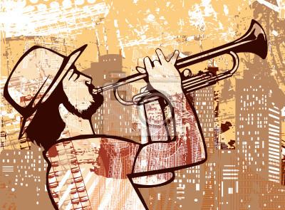 Trompeter auf einem Grunge-Hintergrund