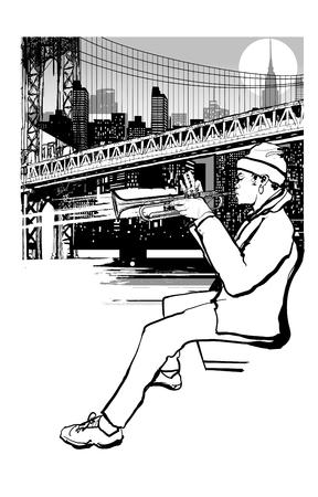 Trompeter in New York (Brooklyn) - Vektorillustration