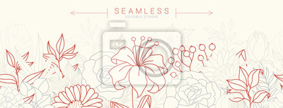 Sticker Tropical flowers border seamless pattern in sketch style on white background - hand drawn exotic blooms of hibiscus, protea, magnolia and plumeria with colorful line contour. Vector illustration
