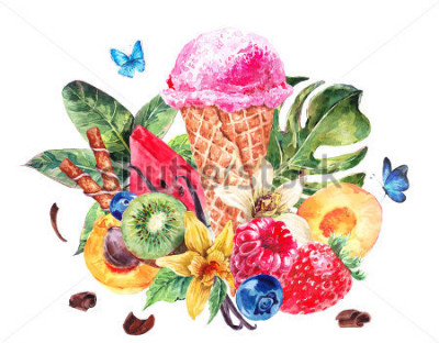 Sticker Tropical hand painting summer watercolor natural eco food background with fruits, soft Italian fruit ice cream, summer nature exotic sale card