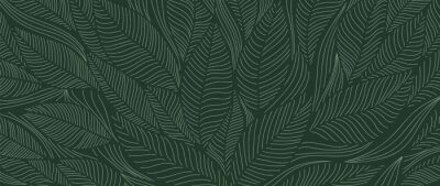 Sticker Tropical leaf Wallpaper, Luxury nature leaves pattern design, Golden banana leaf line arts, Hand drawn outline design for fabric , print, cover, banner and invitation, Vector illustration.