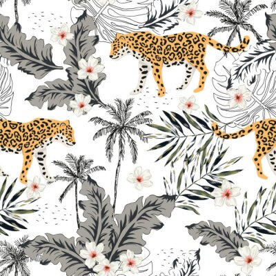 Sticker Tropical leopard animals, plumeria flowers, palm leaves, trees, white background. Vector seamless pattern. Graphic illustration. Summer beach floral design. Exotic jungle plants. Paradise nature