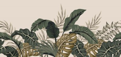 Sticker Tropical palm leaves, jungle leaves seamless vector floral pattern background.