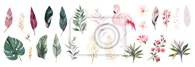 Sticker Tropical vector leaf with gold, flowers and flamingo. set  floral illustration. exotic Leaves isolated on white background. collection with flowers for invitation