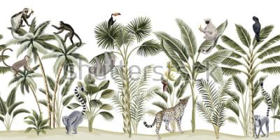 Sticker Tropical vintage botanical landscape, palm tree, banana tree, plant, sloth, monkey, leopard, lemur, parrot, toucan floral seamless pattern white background. Exotic green jungle animal wallpaper.