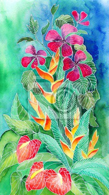 Tropische Blumen. Aquarellabbildung