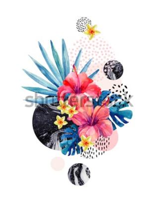 Sticker Tropische Blumen des Aquarells auf geometrischem Hintergrund mit dem Marmorieren, Gekritzelbeschaffenheiten. Übergeben Sie gezogene Blume mit Fanpalme, Monsterablätter, geometrische Formen in der mini