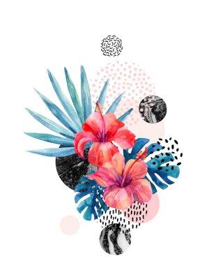 Sticker Tropische Blumen des Aquarells auf geometrischem Hintergrund mit Marmorierung, Gekritzelbeschaffenheiten