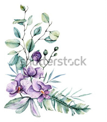 Sticker Tropische Blumen des Aquarells, Grenze mit Blättern und Orchideen. Botanische Malerei, Anordnung für Hochzeitskarte, Grüße, Hintergründe, Einladung, Blog usw. lokalisiert auf Weiß.