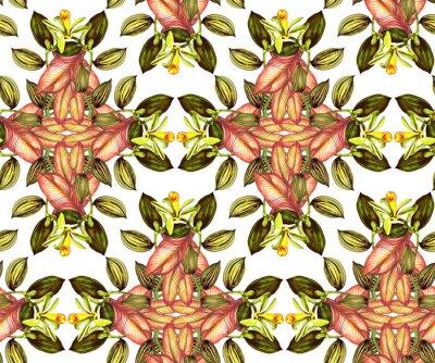 Tropische nahtlose Muster mit Vanille Orchidee im Vintage-Stil
