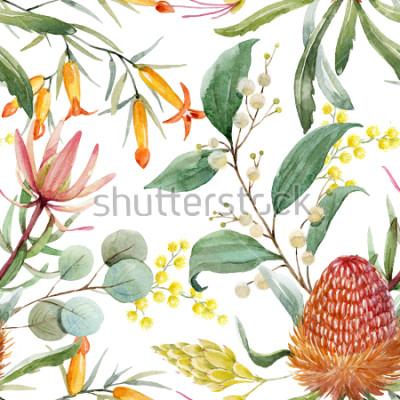 Sticker Tropischer Blumendruck, orange Bangsia blüht, Eukalyptusblätter, Proteablätter, blühende Mimose, tropische Tapete