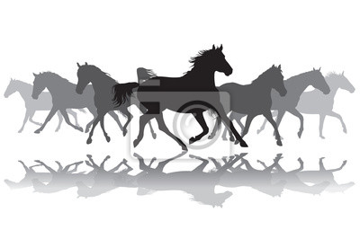 Trotting Pferde Silhouette Hintergrund Illustration