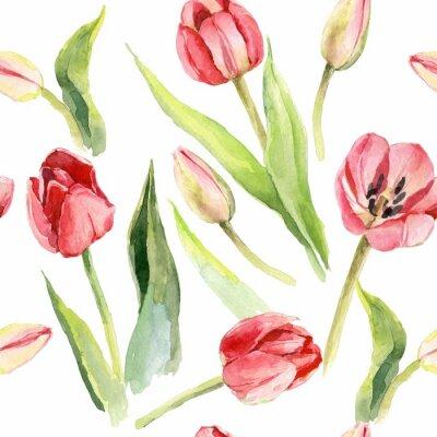 Sticker tulips flower watercolor pattern illustration textile print