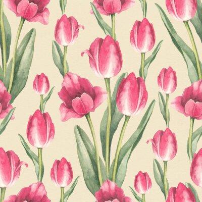 Sticker Tulpe Blumen Illustration. Aquarell nahtlose Muster