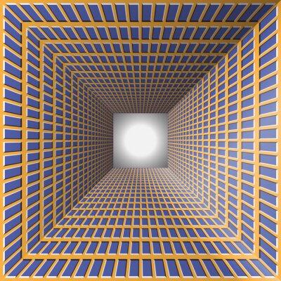 Sticker Tunnel mit karierten Wänden. Zusammenfassung Hintergrund mit der optischen Täuschung der Bewegung.
