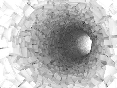 Sticker Tunnel mit Wänden aus chaotischen Blöcken 3d
