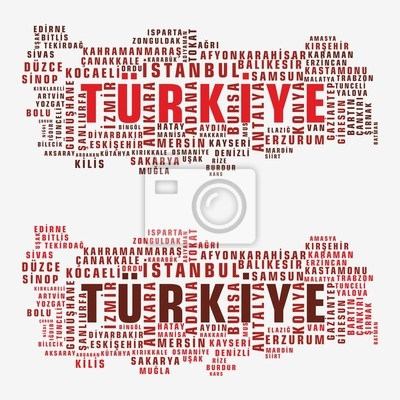 Türkei-Staatskarte Vektor Tag Cloud