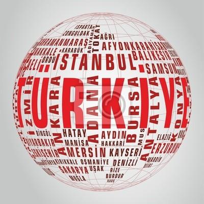 Türkei-Staatskarte Vektor-Tag Globus