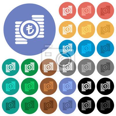 Türkische Lira Münzen Rund Flache Bunte Symbole Notebook Sticker