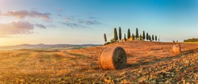 Sticker Tuscany landscape with farm house at sunset, Val d'Orcia, Italy