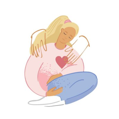 Two arms embrace a sad lonely woman to get rid of suffering. A young unhappy girl sits and hugs her knees. Concept of support, empathy, and care for people under stress. Cartoon vector illustration.
