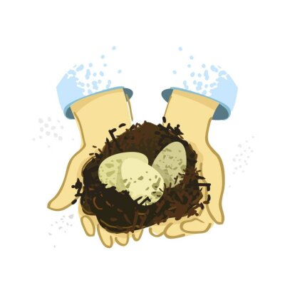 Two hands holding a nest with eggs drawn by hand on a white background. Banner's concept of caring for nature, taking care of animals and birds. Poster for pet stores and zoos. Vector illustration.
